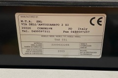 Serwis chiller MTA TAE 031 - tabliczka znamionowa