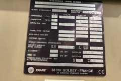 Tabliczka znamionowa chiller Trane ERTAB212