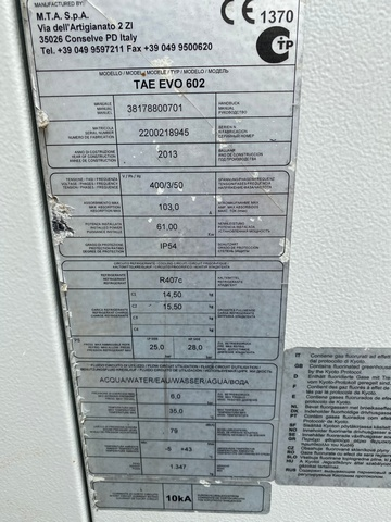 Serwis Chiller MTA TAE EVO 602