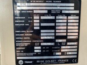 Tabliczka znamionowa chiller Trane ERTWA213 300 kW