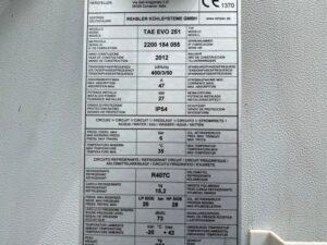 Serwis chiller MTA TAE EVO 251 - tabliczka znamionowa